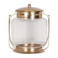 """14"""" Round Glass and Antique Brass Lantern"""