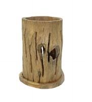 "12"" Pierced Teak Log Hurricane"