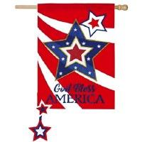 """28"""" x 44"""" God Bless America Star Garden Flag"""