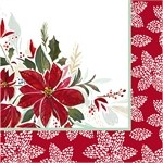 "Pack of 20, 5"" Square Red Poinsetta Foil Beverage Napkin"
