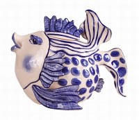 """7.5""""  Blue and White Fish Teapot"""