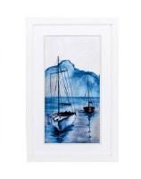 "31"" x 20"" 2 Navy Sailboat Framed Print"