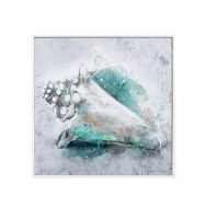 """12"""" Square Green and Gray Conch Framed Gel Print"""