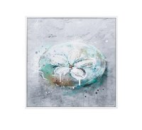 """12"""" Square Green and Gray Sand Dollar Framed Gel Print"""
