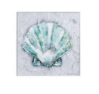 """12"""" Square Green and Gray Starfish Framed Gel Print"""