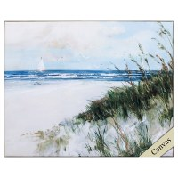 "25"" x 31"" Beach Scene Framed Canvas"