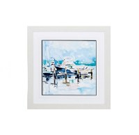 """27"""" Square Docked Boat With Blue Framed Print"""