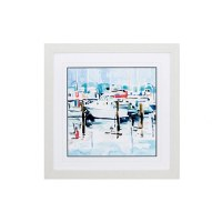 """27"""" Square Docked Boat With Red Framed Print"""