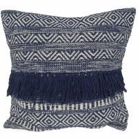 "20"" Square Natural and Dark Blue Boho Pillow"