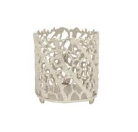 Small Round Silver Coral Votive Holder
