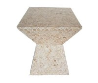 "14"" Square Natural Capiz Mosaic Table"