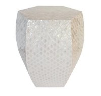 "17"" Hex White Capiz Mosaic Table"