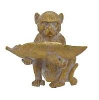 """8"""" Gold Monkey Holding Leaf"""