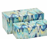 "14"" x 7"" Blue and Yellow Swirl Glass Box"