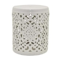 "14"" Round White Openwork Ceramic Stool"
