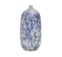 """15"""" Blue and White Squiggle Vase"""