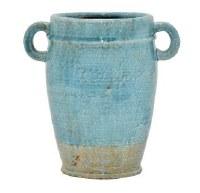 "12"" Blue 2 Handle Vase"