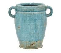 "9"" Blue 2 Handle Vase"