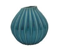 "10"" Blue Rib Ceramic Vase"