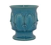 "8"" Blue Face Ceramic Pot"