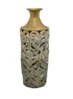 """23"""" Verdegris Monstera Leaf Metal Vase"""