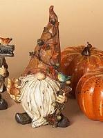 "6"" Fall Polystone Gnome With Blue Bird"