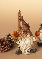 "6"" Fall Polystone Gnome Wih Sunflower"