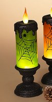 "13"" LED Green Swirl Candle Lantern"