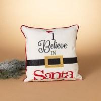 "16"" Square Believe Santa Belt Pillow"
