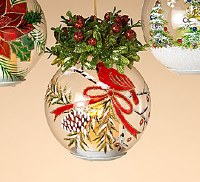 """6.5"""" LED Candle In Glass Ornament With Cardinal Details"""