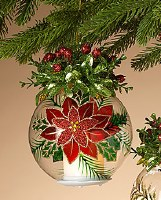 """6.5"""" LED Candle In Glass Ornament With Poinsettia Detail"""