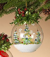 """6.5"""" LED Candle In Glass Ornament With Tree Details"""