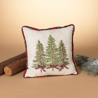 "16"" Square Red and Green 3 Tree Pillow"