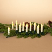 Set of 10 White LED Candles With Clips to attach to a Centerpiece