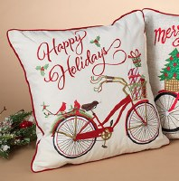 """16"""" Square Happy Holidays With Bike Pillow"""