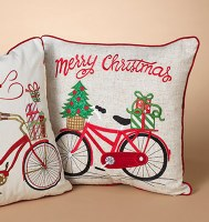 """16"""" Square Merry Christmas With Bike Pillow"""