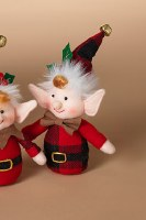 "5"" Elf Ornament Wih Plaid Body"