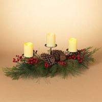 "28"" Triple Red Berry Candleholder Centerpiece"
