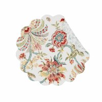 "17"" Round Braganza Floral Quilted Reversible Placemat"
