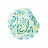 "17"" Round Jade Paisley Reversible Quilted Placemat"