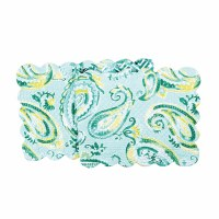 "51"" Jade Paisley Quilted Runner"