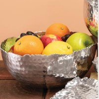"""10.5"""" Round Metal Silver Bowl With Jagged Edges"""
