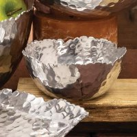 """4"""" Round Metal Silver Bowl With Jagged Edges"""