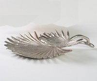 """15"""" Silver Metal Palmetto Chip and Salsa Tray"""