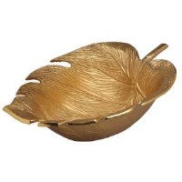 "15"" Gold Metal Tropical Leaf Bowl"