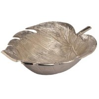 "15"" Silver Metal Tropical Leaf Bowl"