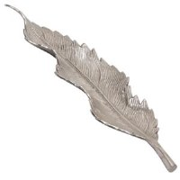"20"" Silver Metal Narrow Leaf Tray"