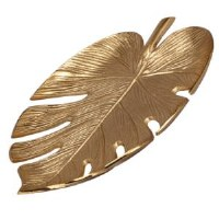 "13"" Gold Metal Monstera Leaf Tray"