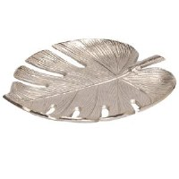 "13"" Silver Metal Monstera Leaf Tray"