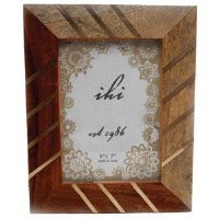 "5"" x 7"" Brass and Wood Picture Frame"